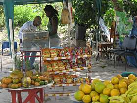 Fruit stand at the beach