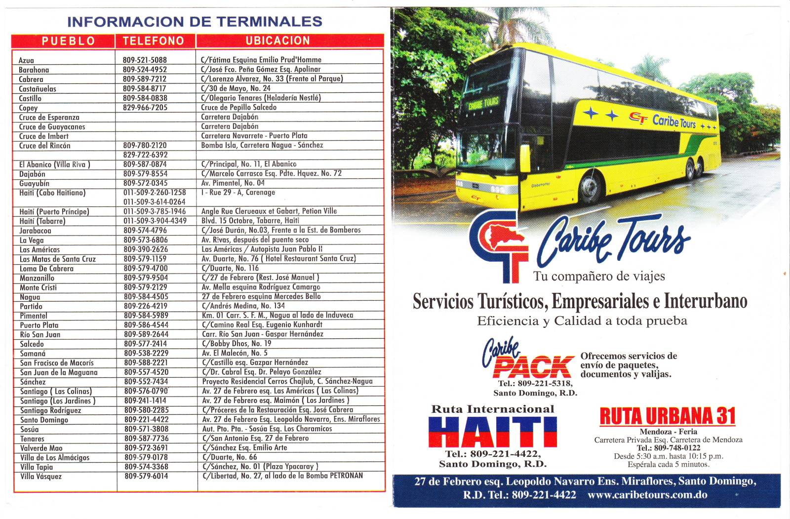Caribe Tours Dominican Republic Bus Transport Schedule