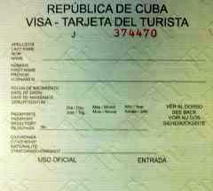Touristenkarte für Kuba
